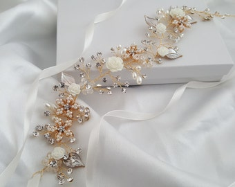 Wedding Hair Vine, Gold Bridal Head Piece, Silver Bridal Hair Accessory, Flower Hair Vine, Pearl Hair Vine