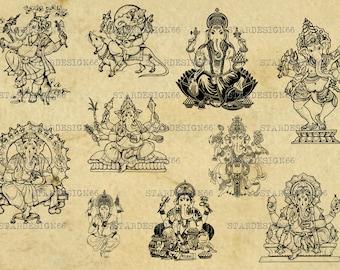 Digital SVG PNG JPG hinduism, religion symbol, hindu, ganesha mask, clipart, silhouette, vector, instant download