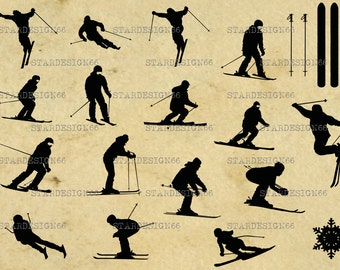 Digital SVG PNG JPG Skiing, sport, snowflake, skis, vector, clipart, silhouette, instant download