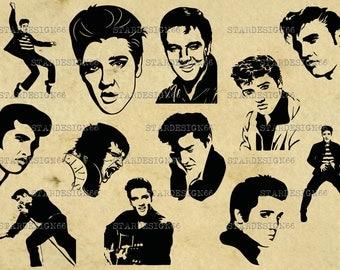 Digital SVG PNG JPG Elvis Presley, silhouette, vector, clipart, instant download