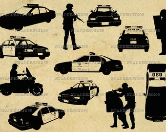 Digital SVG PNG JPG Police, police car, policemen, vector, silhouette, clipart, instant download