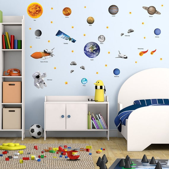 GET STICKING DÉCOR® Educational Space Planet Solar System Wall Stickers/ Wall  Decals Collection, Ssys.3. (Large)