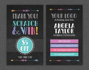 Lula Scratch Off Card - Scratch Card - Lula Chalkboard - Black - Prize Card - Lula Reward Card - Custom