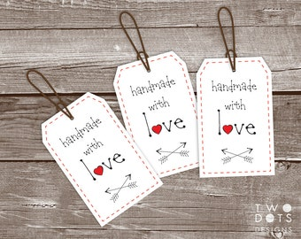 Printable Gift Tags - Handmade with Love, Gift Tag, Gift Tag for Homemade Gift