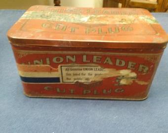 Vintage Union Leader Cut Plug Tobacco Tin