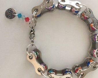 Multi bling bike chain bracelet
