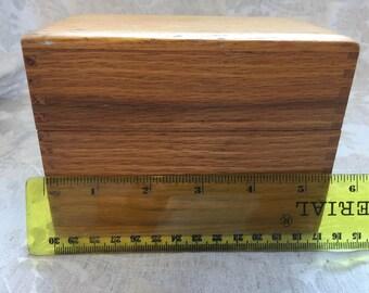Small wooden recipe box from 1940's circa