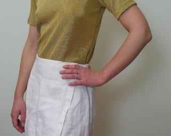 GOLD 90'S  lurex shiny T-SHIRT top sz M