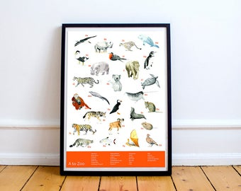 A to Zoo Poster Animals Illustration Print A2 Giclee Children's Nursery Art
