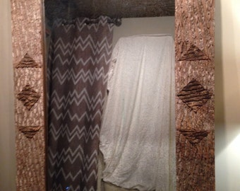 Large poplar bark showpiece mirror