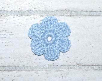 1 flower - light blue - patches - crochet - application