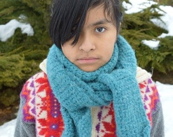 Turquoise Chrocheted Scarf