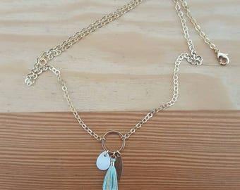 Necklace gold end Pompom