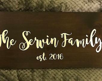 Family name custom wood sign