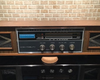 Gorgeous restored 1960's AM FM 4 speaker stereo radio Commodore High fidelity table top 2' wide . Free shipping