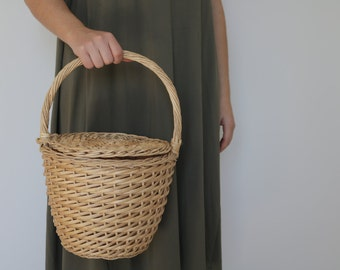 Jane Birkin Basket - medium, basket with a Lid, Round Wicker Basket, Round Willow Basket, Round Basket, Jane Birkin Basket, Basket Purse.