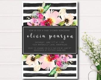 BLACK & WHITE STRIPE Baby Shower Invitation Pink Watercolor Flowers , Garden Baby Shower printable Invitation, Rustic Baby Shower