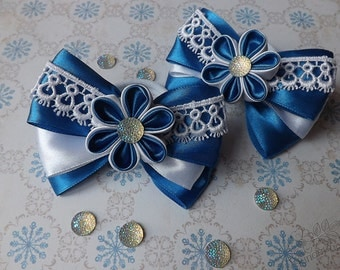 White and blue kanzashi flower bows