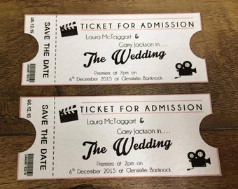 movie ticket themed wedding invitations stationery