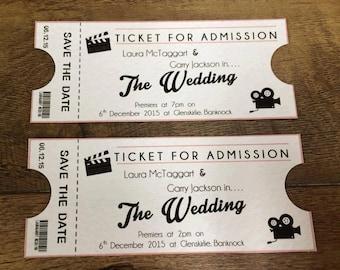 movie ticket themed wedding invitations stationery