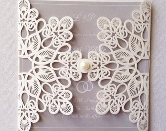 Laser cut vintage floral wedding invitations wedding stationery