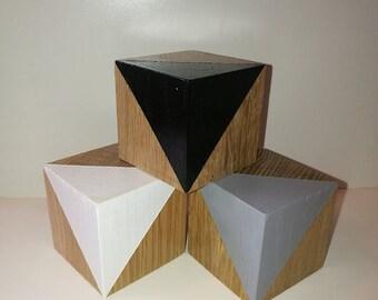 set of three oak blocks