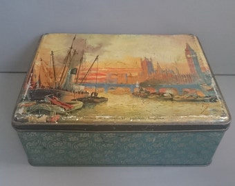 Vintage Tin J. Edmondson and Co. Liverpool Confectionery Large  London Scene