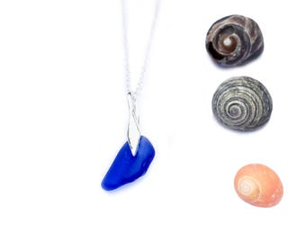 Dark Blue Sea Glass Necklace - St Ives