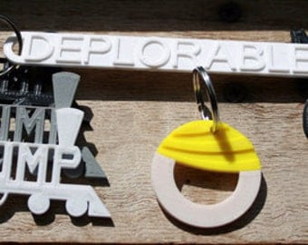 President Donald J Trump Train Keychain 3D Printed MAGA Make America Great Again Hair Deplorable RNC Republican Conservative TEA Party