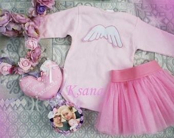 pink baby set,set for new born,set for photo,pink bodi and tutu,wings for baby