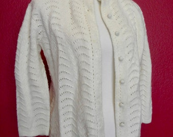 Vintage Boepple Ivory Knit Cardigan Sweater