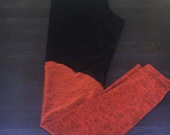 Super Soft XS or Large Orange Two-Tone Leggings - Black Yoga Pants - Black Stretch Pants - Orange Tights - Ready to Ship, Free Shipping