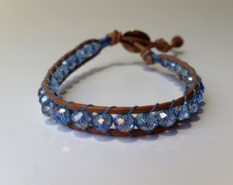 Blue crystal bracelet, leather bracelet, womens bracelet, teal bracelet blue wrap bracelet, leather wrap bracelet, blue beaded bracelet