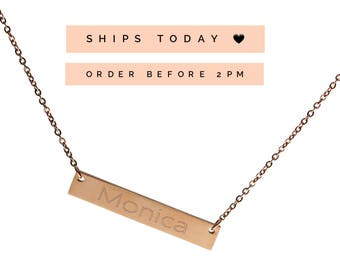 Rose Gold Name Bar Necklace, Name Plate Necklace, Mother's Day Necklace, Personalized Name Necklace,Birthday Gift, Custom Rose Gold Necklace