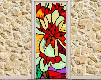 "Stained Glass Door Poster/Sticker (30"" x 79"" 