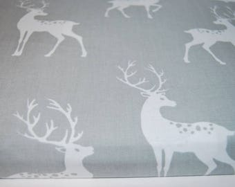 Deer Grey Cotton Fabric