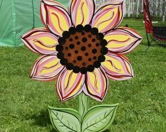 Sunflower Yard Art Stake, Wood Painted Sunflower Garden Stake, Spring Flower  Lawn Stake,