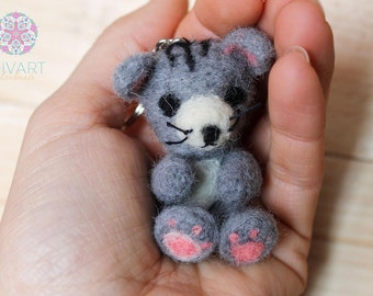 Sweet Little Gray Mouse with Key Ring Needle Felting Pure Wool