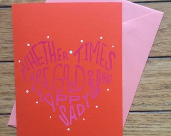 Let's Stay Together Handprinted Greeting Card