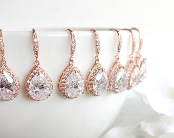 Personalized Rose Gold Wedding Earrings, Bridal Earrings, Crystal Teardrop Earrings, Bridesmaid Gift, Bridesmaid Earrings E3020