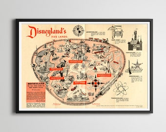 "Vintage 1958 DISNEYLAND Park Map Poster! (24"" x 36"") - Fantasyland - Tomorrowland - Frontierland - Adventureland - Walt Disney World - Wall"
