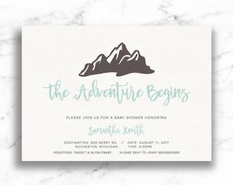 Adventure Baby Shower Invite // Adventure Baby Shower Invitation // Mountain baby Shower Invite // Digital // Printable