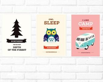 owl print set/Scandinavian wall print/camping illustration/volkswagen print set/Nordic wall/kids print/boy wall robot print set/Scandinavian