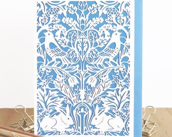 William Morris card, Bird & Hare tapestry Papercut card, Bird and hare design, Morris lasercut card, Morris papercut, Art and craft card