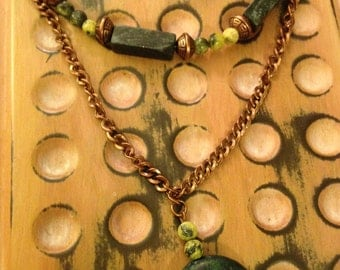 Copper, Yellow, and Turquoise Necklace and Earring Set