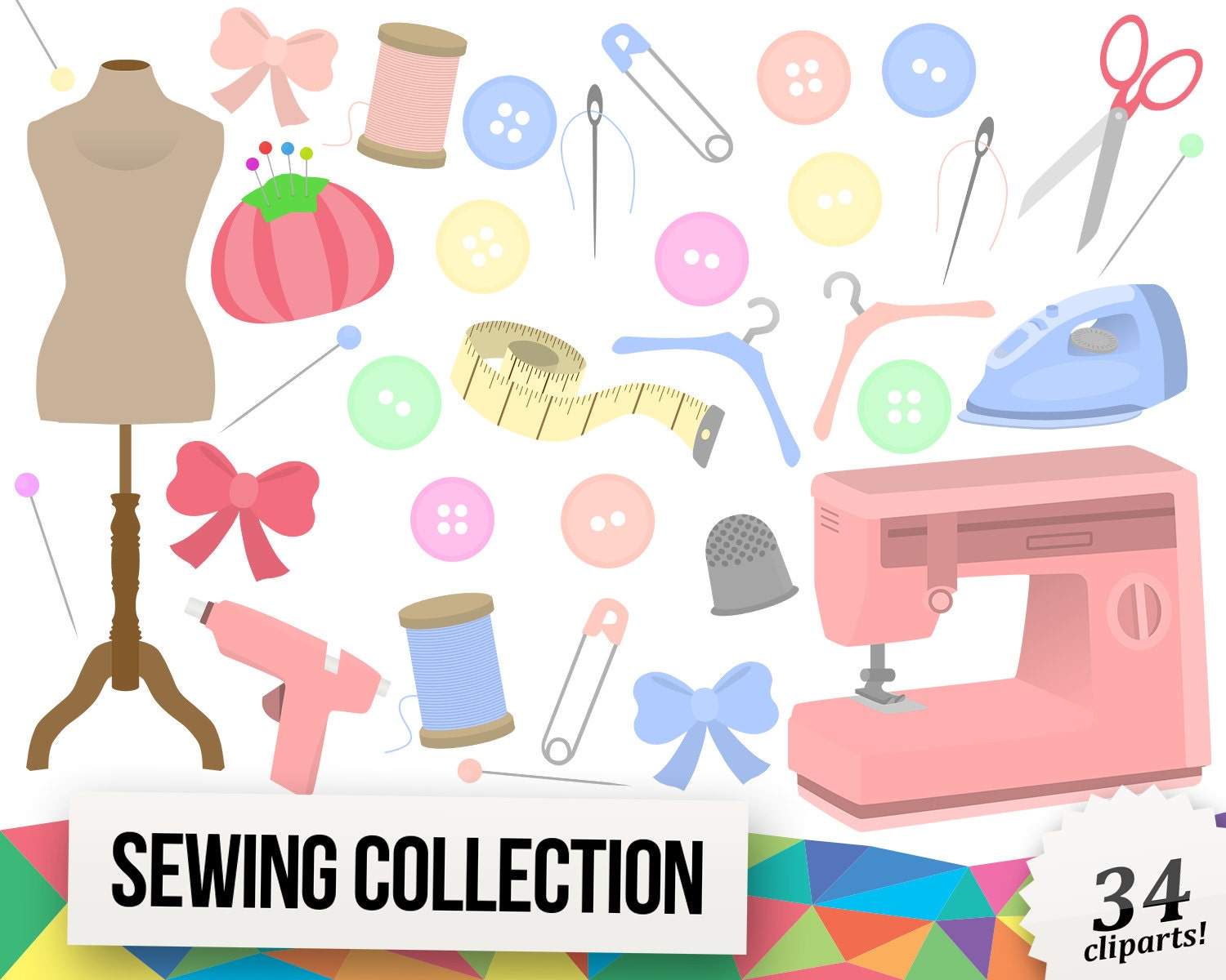 Sewing Clipart Collection, Handmade Clipart, Tailoring ...