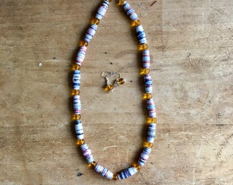Be Bold Paper Bead Necklace (Yellow)