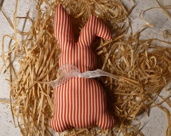 Bunny made of red white striped Daisy cotton fabric for the Easter decor