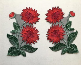 Pair of embroidered flower patch applique