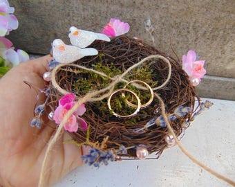 Ring Bearer Birds Nest with White Pearls! Ring Bearer Pillow Alternative, Bird Nest Ring Holder, Rustic Woodland Wedding,Ring Bearer Nest